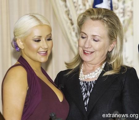 Кристина Агилера и Хиллари Клинтон